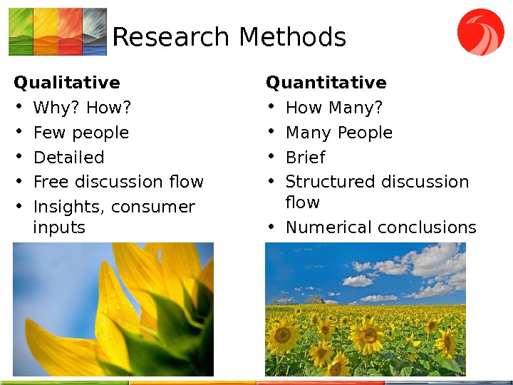 Research Methods Qualitative • Why? How?  • Few people • Detailed • Free discussion flow