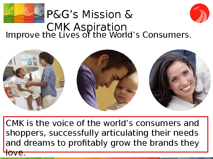 P&G's Mission & CMK Aspiration Improve the Lives of the World's Consumers.  CMK is the
