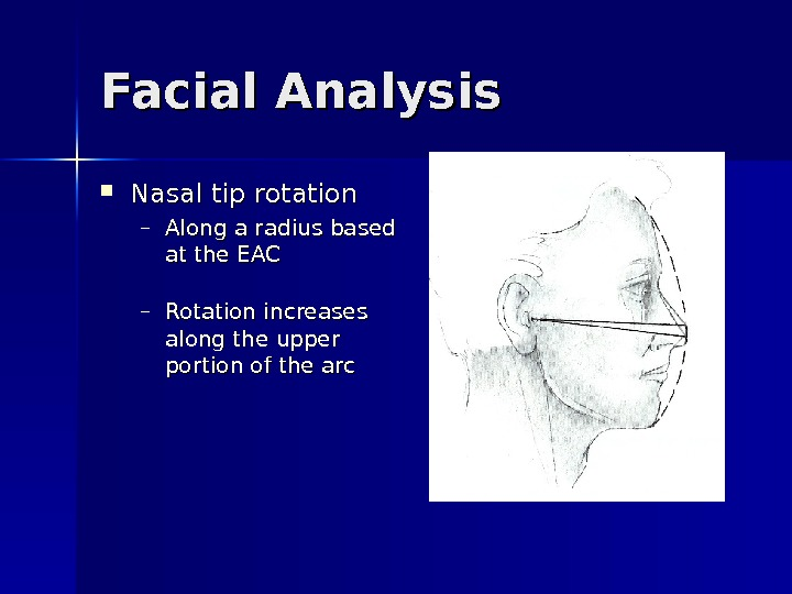 Facial Analysis Nasal tip rotation – Along a radius based at the EAC – Rotation increases