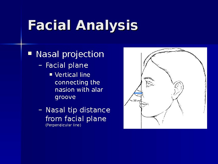 Facial Analysis Nasal projection – Facial plane Vertical line connecting the nasion with alar groove –