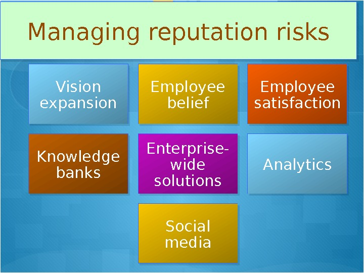 Managing reputation risks Vision expansion Employee belief Employee satisfaction Knowledge banks Enterprise- wide solutions Analytics Social