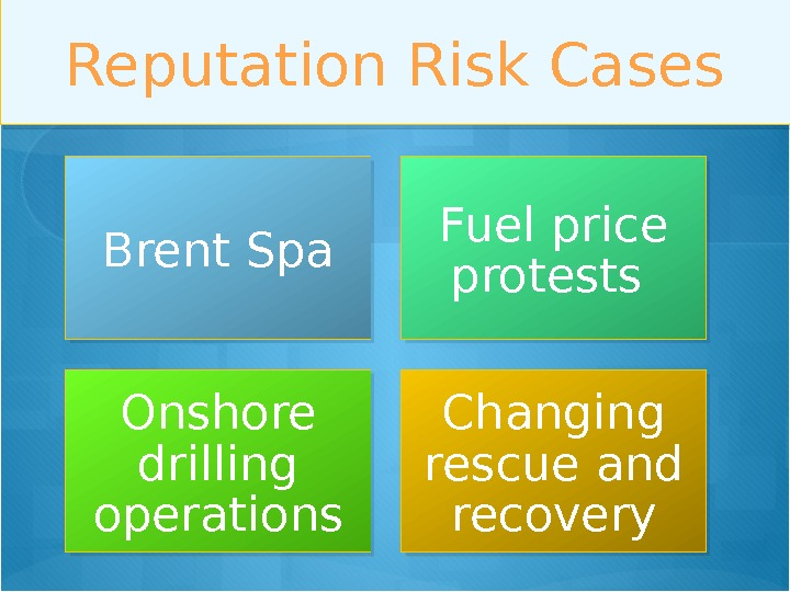 Reputation Risk Cases Brent Spa Fuel price protests Onshore drilling operations Changing rescue and recovery 01