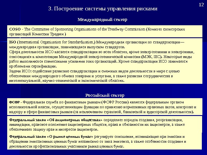 COSO - The Committee of Sponsoring Organizations of the Treadway Commission ( Комитет спонсорских