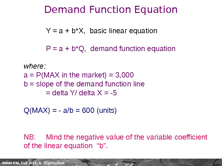 5 WIUU RM, Fall 2012, A. Zaporozhetz Demand Function Equation Y = a + b*X,