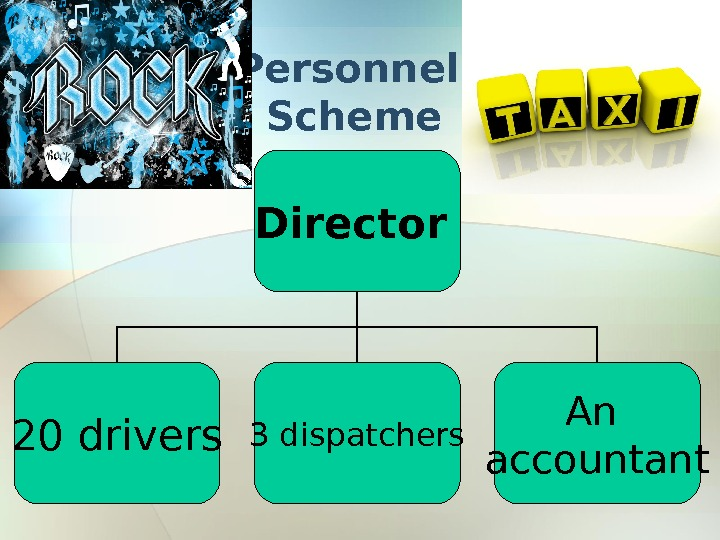 Personnel Scheme Director  20 drivers 3 dispatchers An accountant