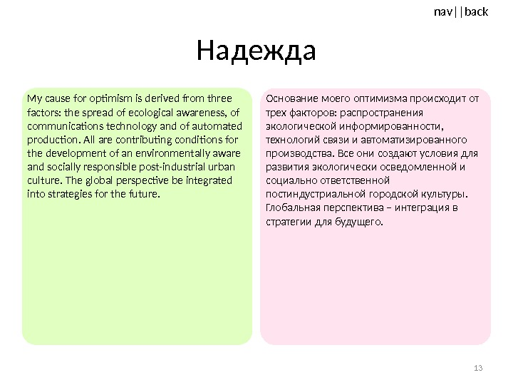 nav ||back Надежда My cause for optimism is derived from three factors :  the spread