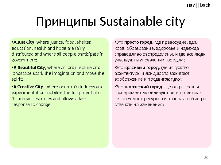nav ||back Принципы Sustainable city • A Just City , where justice, food, shelter,  education,