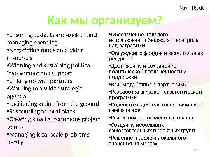 Nav ||bac. K Как мы организуем?  • Ensuring budgets are stuck to and managing spending