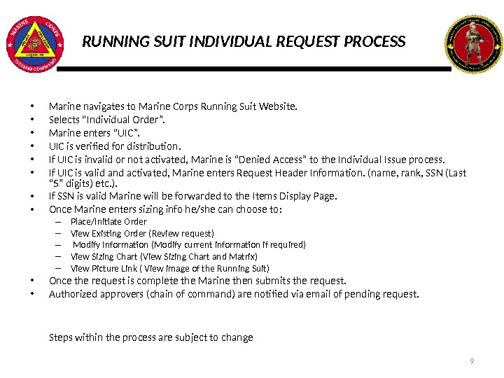 RUNNING SUIT INDIVIDUAL REQUEST PROCESS • Marine navigates to Marine Corps Running Suit Website.  •