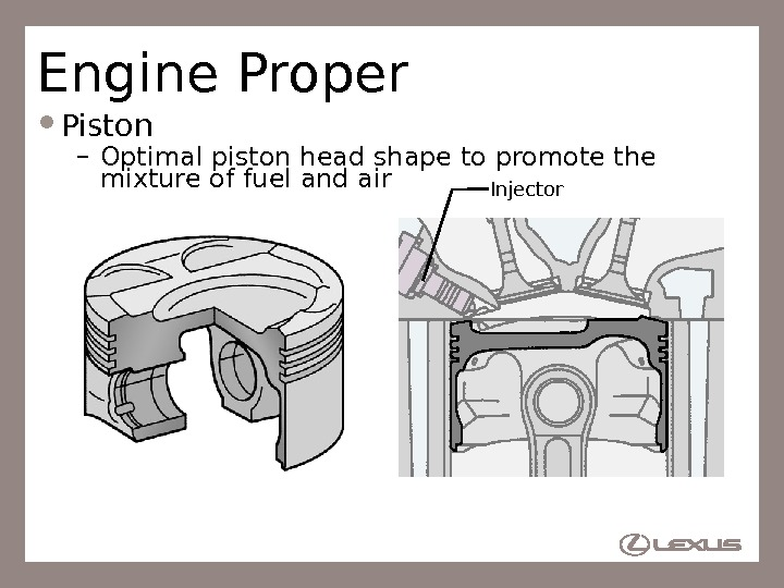 11 Engine Proper Piston – Optimal piston head shape to promote the mixture of fuel and