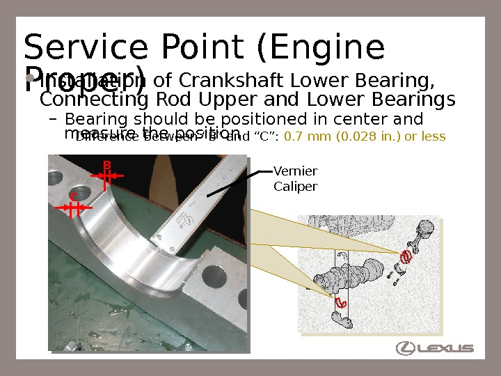 14 Service Point (Engine Proper) Installation of Crankshaft Lower Bearing,  Connecting Rod Upper and Lower