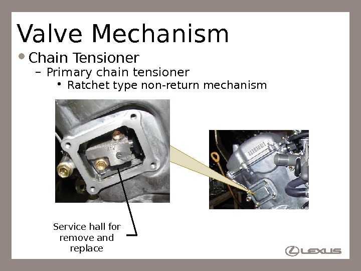 20 Valve Mechanism Chain Tensioner – Primary chain tensioner  • Ratchet type non-return mechanism Service
