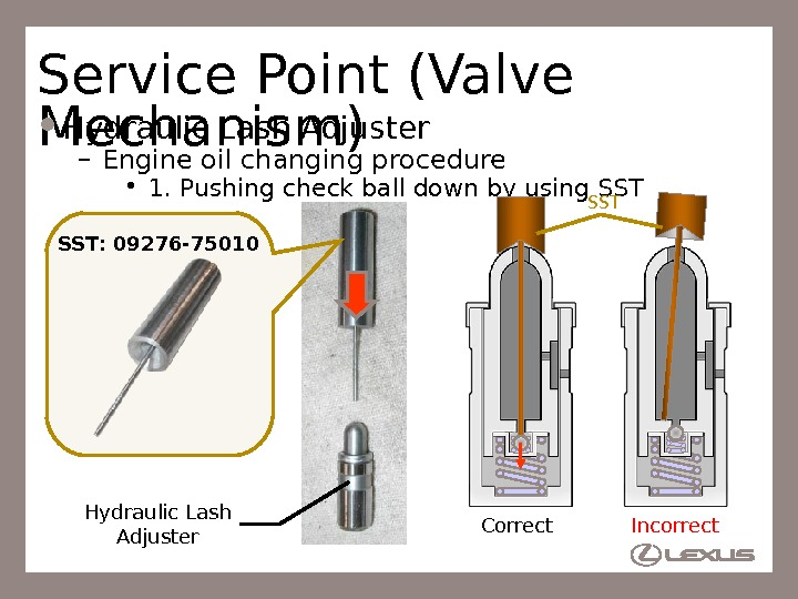 28 Service Point (Valve Mechanism) Hydraulic Lash Adjuster – Engine oil changing procedure • 1. Pushing