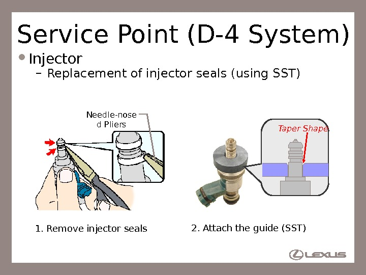 57 Service Point (D-4 System) Injector – Replacement of injector seals (using SST) Needle-nose d Pliers