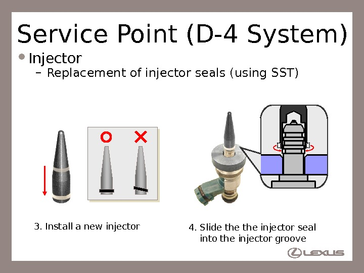 58 Service Point (D-4 System) Injector – Replacement of injector seals (using SST) 3. Install a