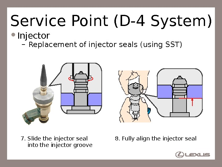 60 Service Point (D-4 System) Injector – Replacement of injector seals (using SST) 8. Fully align