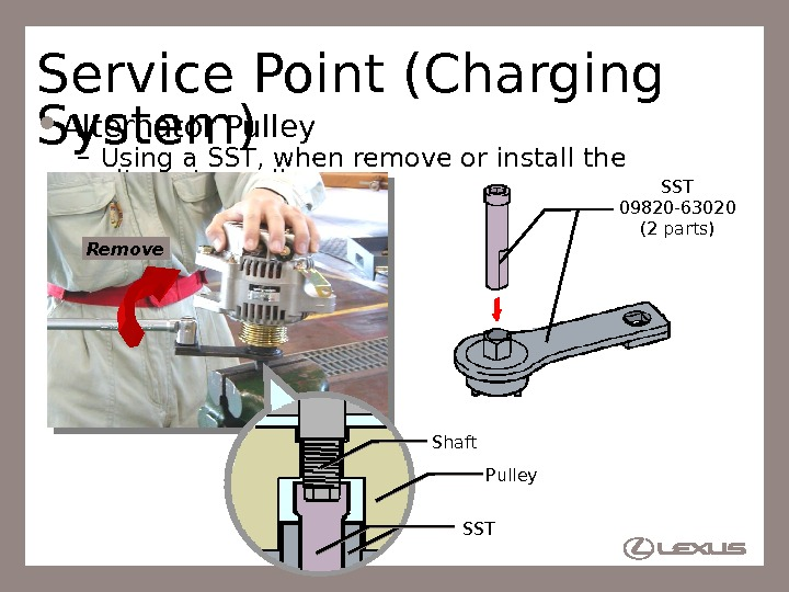 66 Service Point (Charging System) Alternator Pulley – Using a SST, when remove or install the