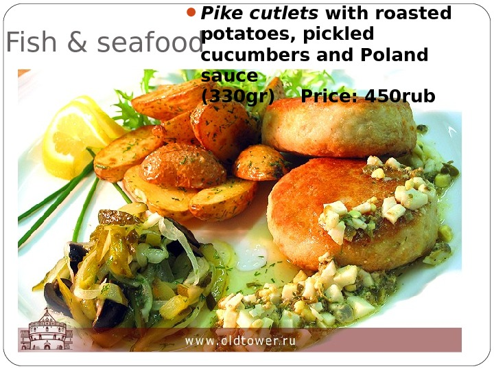 Fish & seafood Pike cutlets with roasted potatoes, pickled cucumbers and Poland sauce (330 gr)