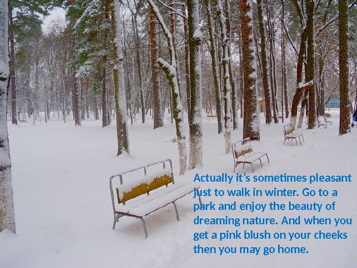 Actually it's sometimes pleasant just to walk in winter. Go to a park and enjoy the