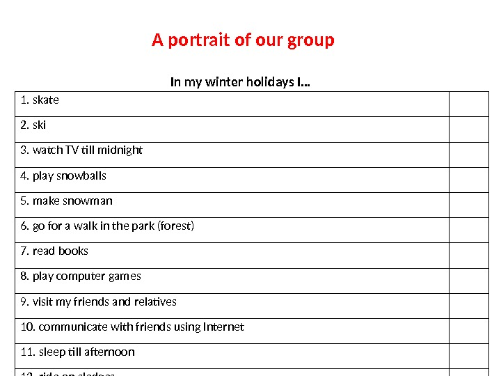 A portrait of our group In my winter holidays I… 1. skate 2. ski 3. watch