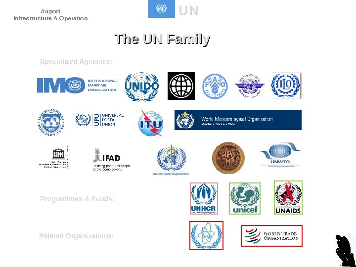 UN The UN Family Specialized Agencies: Programmes & Funds: Related Organizations: D. Dencker. Airport Infrastructure &