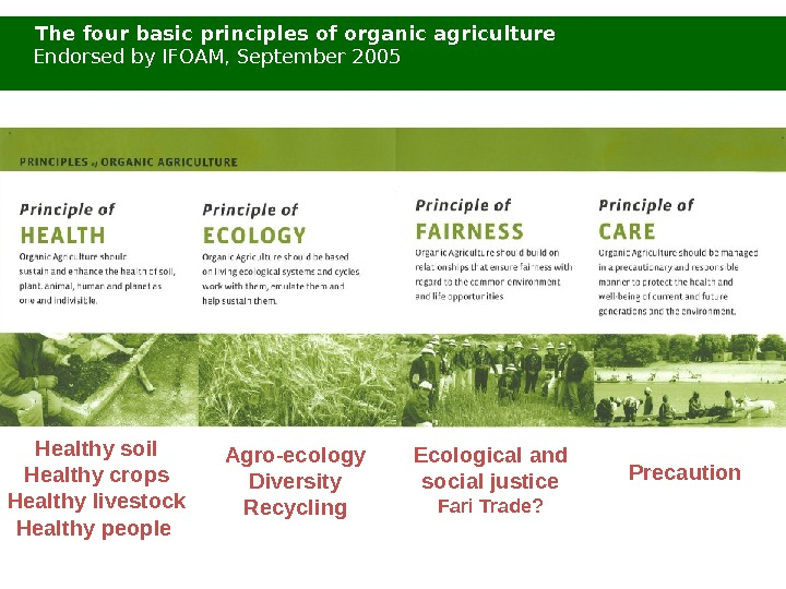 Agro-ecology Diversity Recycling. Healthy soil Healthy crops Healthy livestock Healthy people  The four basic principles
