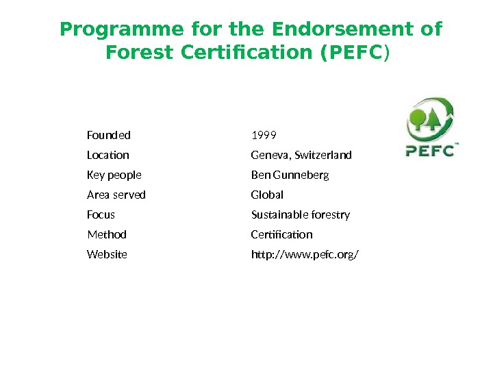 Founded 1999 Location Geneva, Switzerland Key people Ben Gunneberg Area served Global Focus Sustainable forestry Method