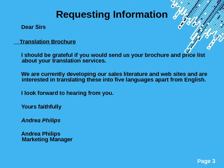 Powerpoint Templates Page 3 Requesting Information  Dear Sirs Translation Brochure  I should be grateful