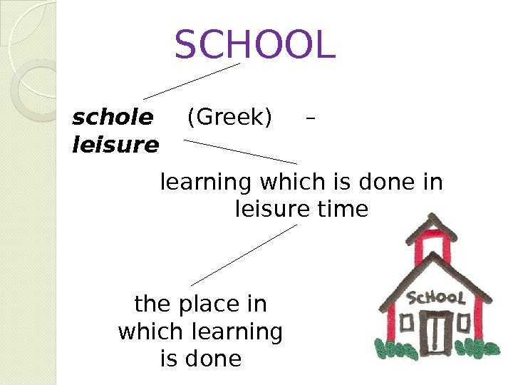 schole (Greek) – leisure SCHOOL learning which is done in leisure time the place in which
