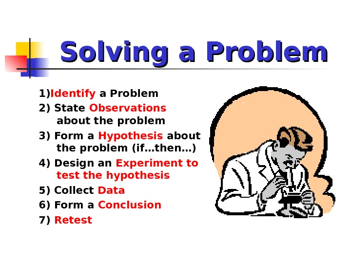 Solving a Problem 1) Identify a Problem 2) State Observations  about the problem 3) Form