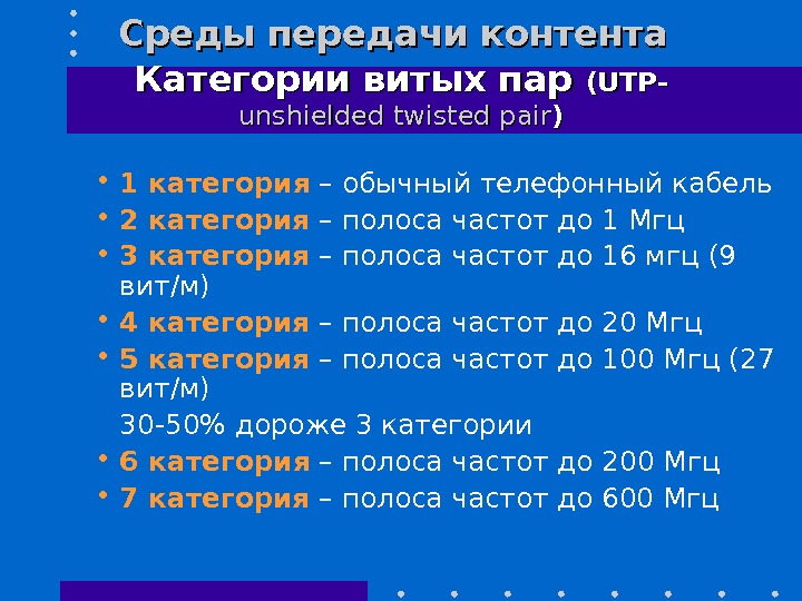 Среды передачи контента  Категории витых пар (UTP - - unshielded twisted pair )) • 1