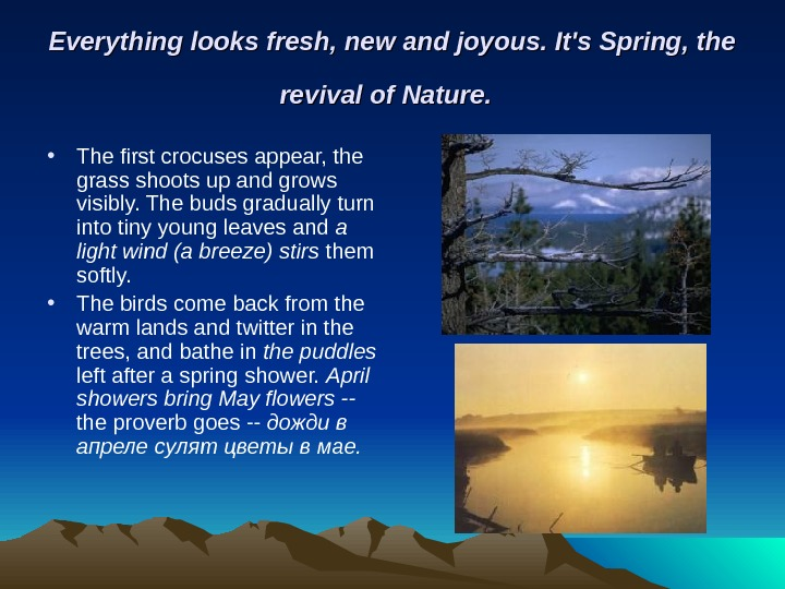 Everything looks fresh, new and joyous. It's Spring, the revival of Nature. • The