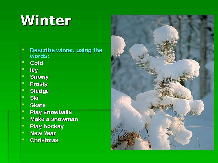 Winter Describe winter, using the words : :  Cold Icy Snowy Frosty Sledge