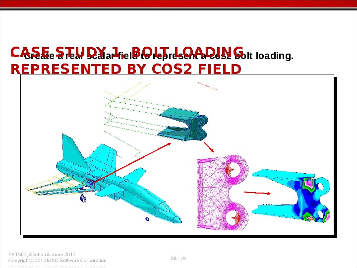 • Create a real scalar field to represent a cos 2 bolt loading. CASE STUDY
