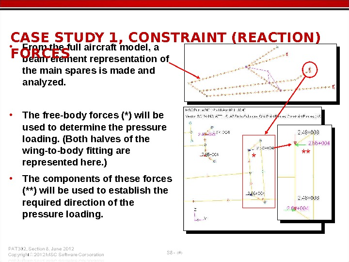 • From the full aircraft model, a beam element representation of the main spares is