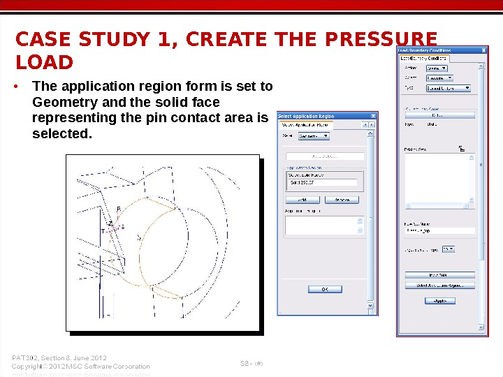 • The application region form is set to Geometry and the solid face representing the
