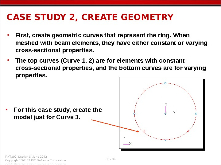 • First, create geometric curves that represent the ring. When meshed with beam elements, they
