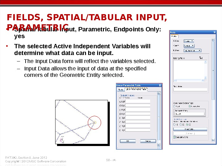 • Spatial/Tabular Input, Parametric, Endpoints Only:  yes  • The selected Active Independent Variables