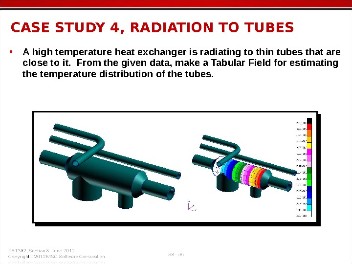 • A high temperature heat exchanger is radiating to thin tubes that are close to