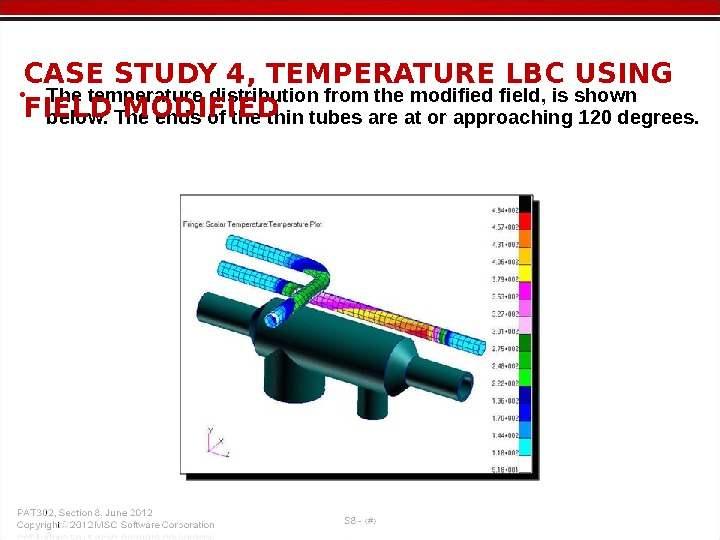 • The temperature distribution from the modified field, is shown below. The ends of the