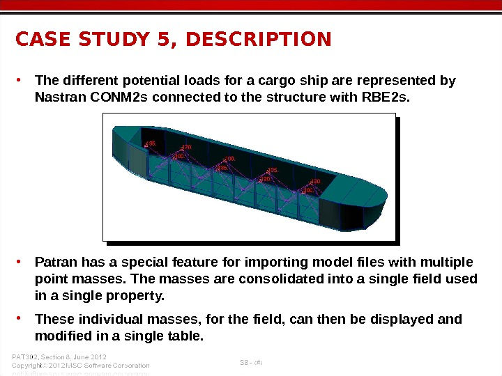 • The different potential loads for a cargo ship are represented by Nastran CONM 2