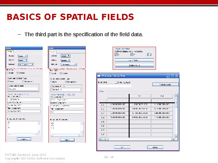– The third part is the specification of the field data. BASICS OF SPATIAL FIELDS