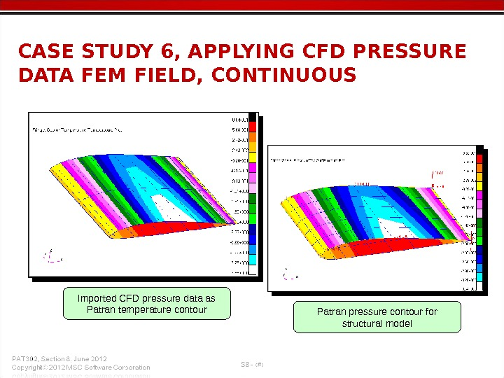 CASE STUDY 6, APPLYING CFD PRESSURE DATA FEM FIELD, CONTINUOUS Imported CFD pressure data as Patran