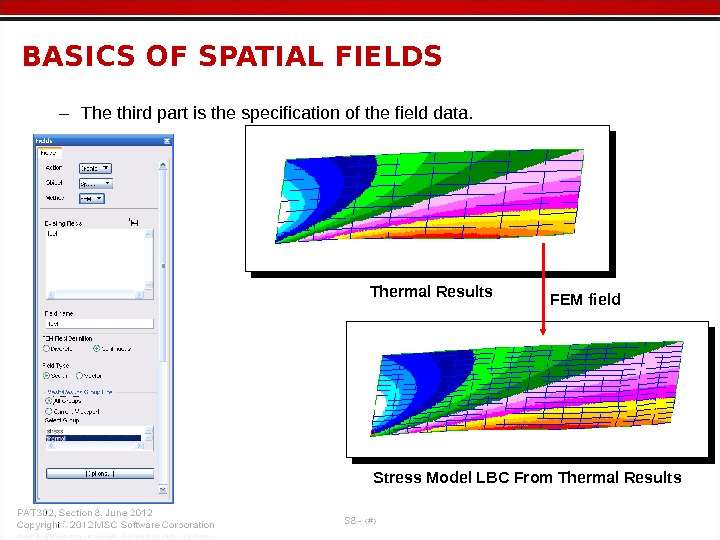 – The third part is the specification of the field data. BASICS OF SPATIAL FIELDS Thermal