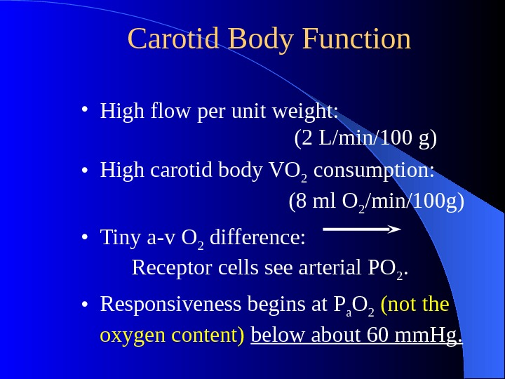 Carotid Body Function • High flow per unit weight:  (2 L/min/100 g) •