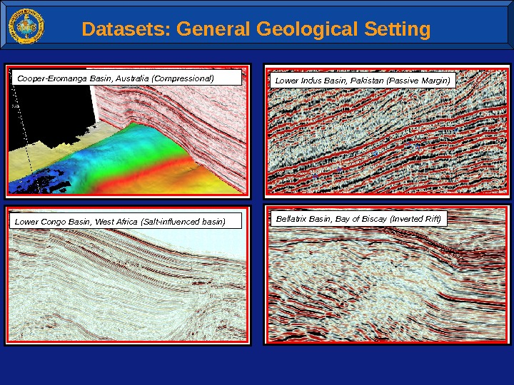 Datasets: General Geological Setting Lower Indus Basin, Pakistan (Passive Margin)Cooper-Eromanga Basin, Australia (Compressional) Lower Congo