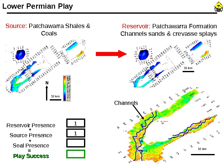 Reservoir:  Patchawarra Formation Channels sands & crevasse splays Channels. Lower Permian Play Reservoir Presence Source