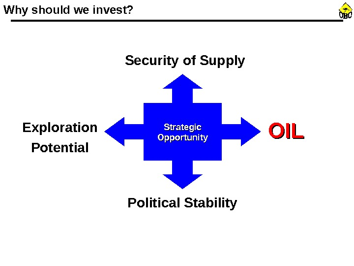 Why should we invest? Strategic Opportunity Political Stability. Exploration Potential Security of Supply OILOIL
