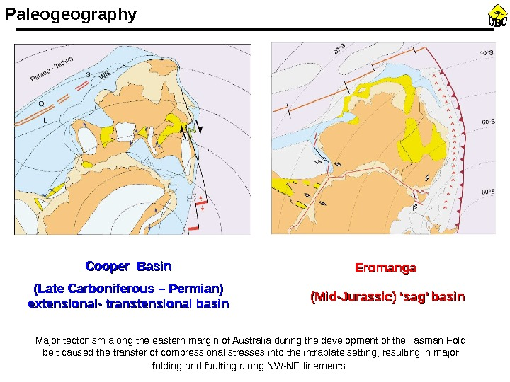 Paleogeography Cooper Basin (Late Carboniferous – Permian) extensional- transtensional basin Eromanga (Mid-Jurassic) 'sag' basin Major tectonism