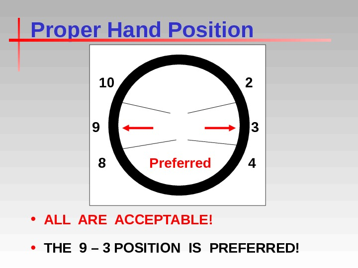 Proper Hand Position • ALL ARE ACCEPTABLE! • THE 9 – 3 POSITION IS PREFERRED! Preferred
